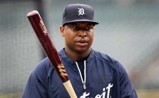 Detroit Tigers Delmon Young takes part in batting practice at their MLB baseball game against the Chicago White Sox in Detroit,