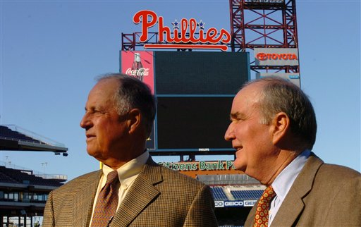 Pat Gillick, left, along with David Montgomery, right, survey Citizens Bank Park on Wednesday, Nov. 2, 2005 in Philadelphia. Gillick just replaced Ed Wade, who was fired after failing to get the team into the playoffs during eight years on the job. (AP Photo/Bradley C Bower)