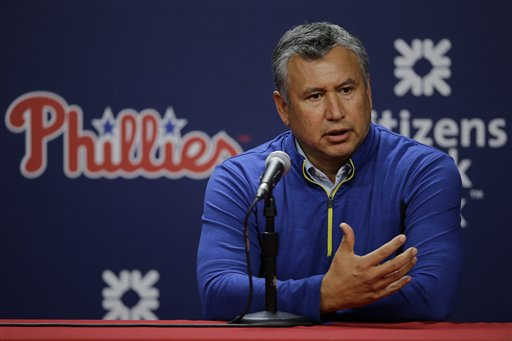 Johnny Almaraz, the Philadelphia Phillies Director of Amateur Scouting, speaks during a news conference before a baseball game against the Cincinnati Reds, Wednesday, June 3, 2015, in Philadelphia. (AP Photo/Matt Slocum)